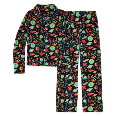 Space Print 2 Piece Coat Front Pajama Set - Boys 4-20