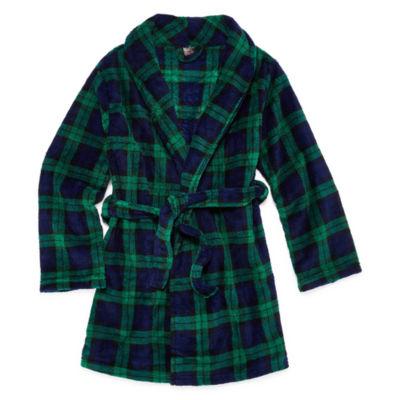 Green/Navy Plaid Robe - Boys 4-20