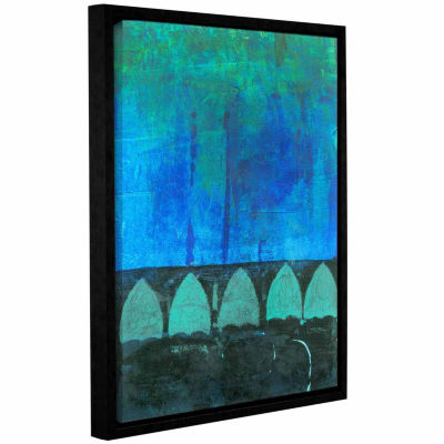Blue-Green Abstract Gallery Wrapped Floater-Framed Canvas Wall Art