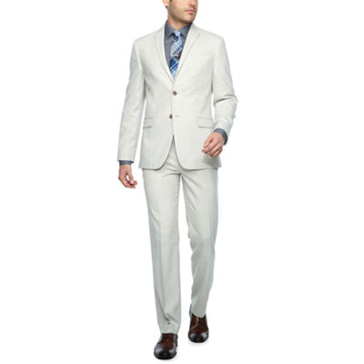 JF J.Ferrar Light Tan Slub Slim Fit Suit Separates