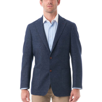 Men's Wool and Cotton Blend Herringbone Classic Fit Blazer