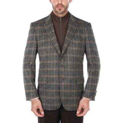 Men's Glen Plaid Wool-blend Blazer with Removable Bib