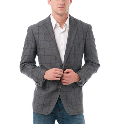 Men's Windowpane Wool Classic-Fit BlazerVerno Pattern Suit Jacket