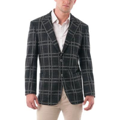 Men's Bold Plaid Wool Blend Peak Lapel Blazer
