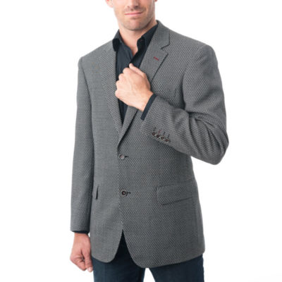 Men's Black and White Wool Blend Birdseye Textured BlazerVerno Pattern Suit Jacket
