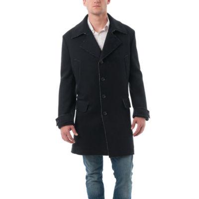 Men's Rough Selvedge Wool Blend Car Coat