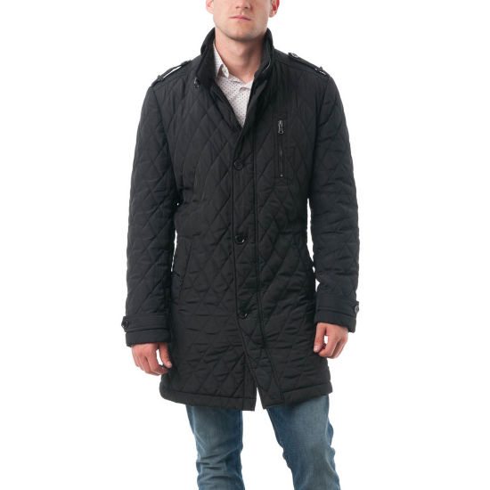 Verno Fashion Mens' Polyester Quilted Car Coat