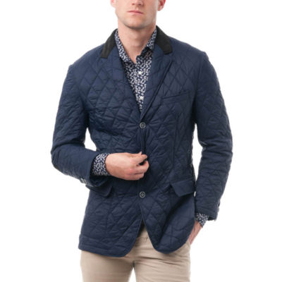 Verno Fashion Men's Nylon Quilted Notched Lapel Sports Coat