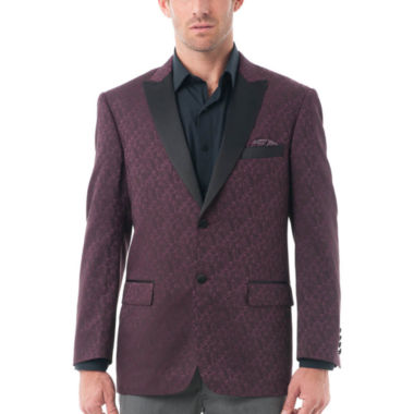 Men's Textured Tuxedo Jacket with Satin Peak Lapel