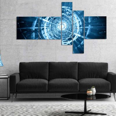 Designart Fractal 3D Deep Blue Spiral Multipanel Abstract Canvas Art Print - 5 Panels