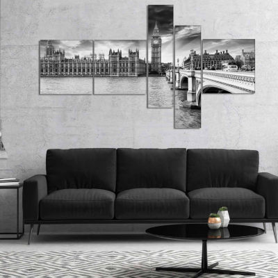 Designart Westminster Palace In Gray Shade Multipanel Photography Canvas Art Print - 5 Panels