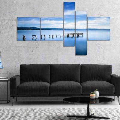 Designart White Clouds And Blue Sea Multipanel Seascape Canvas Art Print - 5 Panels