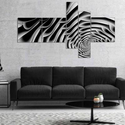Designart White Flower Shaped Fractal Art Multipanel Abstract Wall Art Canvas - 4 Panels