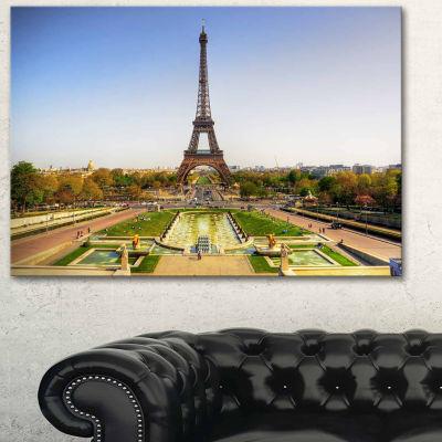 Designart Wide View Of Paris Eiffel Tower Landscape Photography Canvas Print