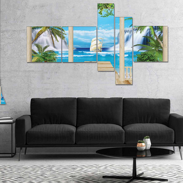Designart Wooden Terrace With Sea View MultipanelLandscape Photography Canvas Print - 5 Panels