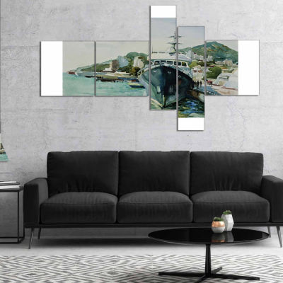 Designart Yacht In Port Yalta Multipanel LandscapeArt Print Canvas - 4 Panels