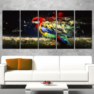 Designart Colorful Parrot On Branch Animal CanvasWall Art -5 Panels