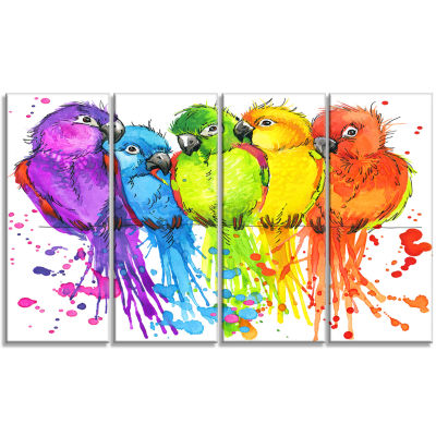 Designart Colorful Parrots Illustration Animal ArtPainting- 4 Panels