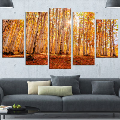 Designart Colorful Red Forest At Sunset Modern Forest Canvas Art - 4 Panels