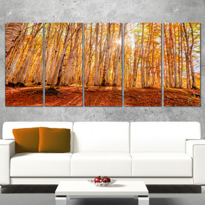 Designart Colorful Red Forest At Sunset Modern Forest Canvas Art - 5 Panels
