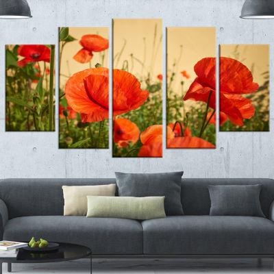 Designart Colorful Red Poppy Flower Field FlowerArtwork OnCanvas - 5 Panels