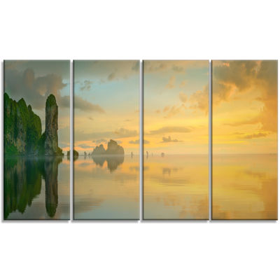 Designart Colorful Sky And Board On Beach Large Seascape Art Canvas Print - 4 Panels