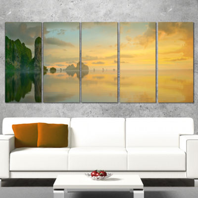 Designart Colorful Sky And Board On Beach Large Seascape Art Wrapped Canvas Print - 5 Panels