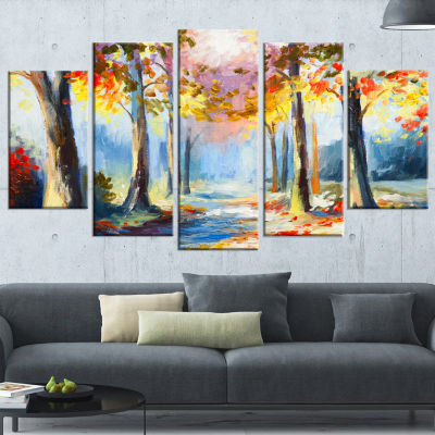 Designart Colorful Spring Forest Landscape Art Print Canvas- 4 Panels