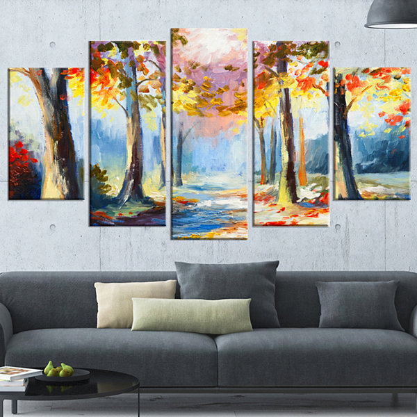 Designart Colorful Spring Forest Landscape Art Print Canvas- 5 Panels