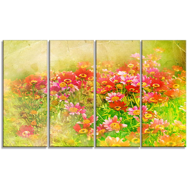 Designart Colorful Spring Garden With Flowers Large Floral Canvas Artwork - 4 Panels