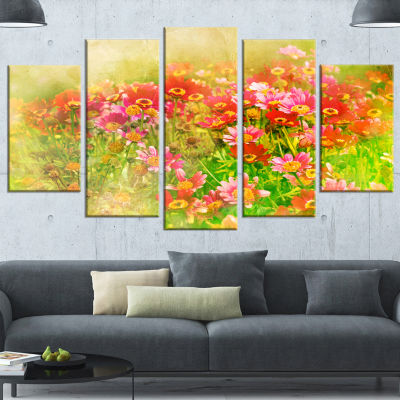 Design Art Colorful Spring Garden With Flowers Large Floral Wrapped Canvas Artwork - 5 Panels