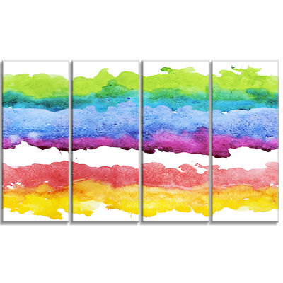 Designart Colorful Stripes In Vector Pattern Abstract CanvasPrint - 4 Panels