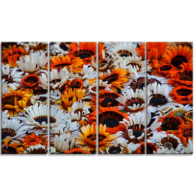 Colorful Sunflowers In Garden Floral Canvas Art Print - 4 Panels