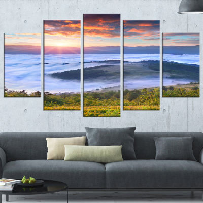 Designart Colorful Sunrise Over Foggy Waters Landscape Photography Wrapped Canvas Print - 5 Panels