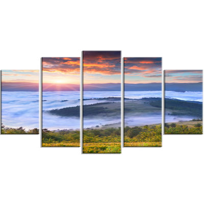 Designart Colorful Sunrise Over Foggy Waters Landscape Photography Canvas Print - 5 Panels