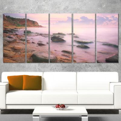 Designart Colorful Sunset Over The Sea Extra LargeSeashore Canvas Art - 4 Panels