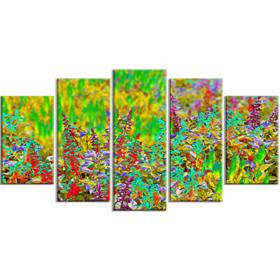 Designart Colorful Textured Flowerbed Large FloralArt Canvas Print - 5 Panels