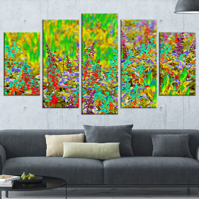 Colorful Textured Flowerbed Large Floral Art Canvas Print - 5 Panels