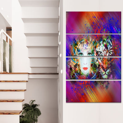 Colorful Tiger And Woman Face Large Abstract Canvas Art - 4 Panels