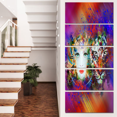 Designart Colorful Tiger And Woman Face Large Abstract Canvas Art - 5 Panels