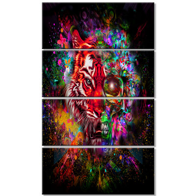 Designart Colorful Tiger Head With Half Skull Abstract WallArt Canvas - 4 Panels