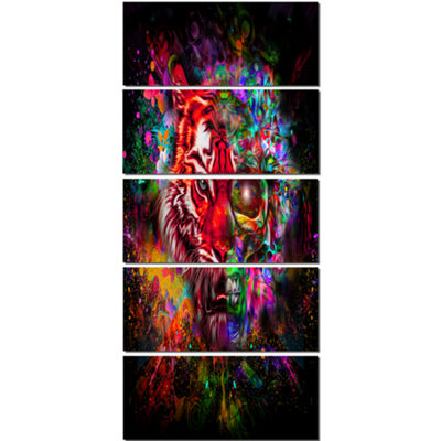 Designart Colorful Tiger Head With Half Skull Abstract WallArt Canvas - 5 Panels