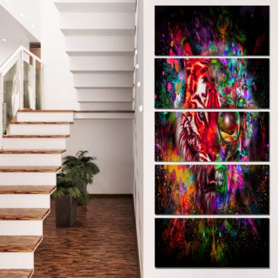 Designart Colorful Tiger Head With Half Skull Abstract WallArt Canvas - 5 Panels