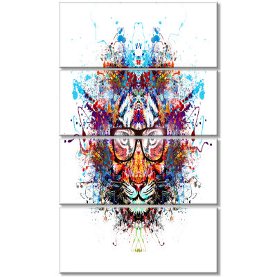 Colorful Tiger In Glasses Animal Canvas Art Print- 4 Panels