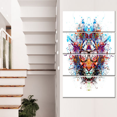 Designart Colorful Tiger In Glasses Animal CanvasArt Print- 4 Panels