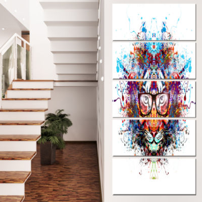 Designart Colorful Tiger In Glasses Animal CanvasArt Print- 5 Panels