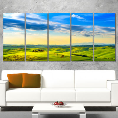 Design Art Colorful Tuscany Countryside Farm Landscape Wrapped Canvas Wall Art - 5 Panels