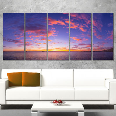 Designart Composition Of Nature Beautiful SeascapeModern Landscape Wall Art Wrapped Canvas - 5 Panels