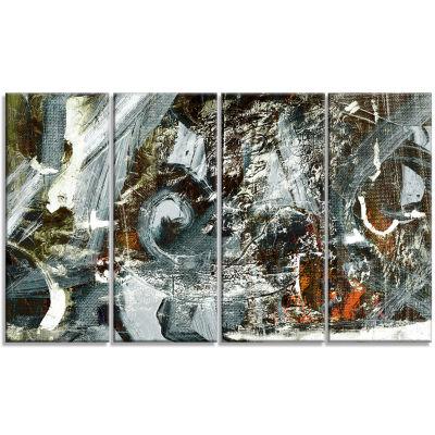 Designart Contemporary Abstract Design Abstract Canvas Print- 4 Panels
