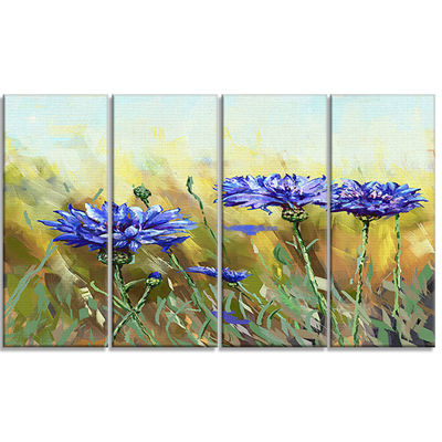 Designart Cornflowers In Full Bloom Floral Art Canvas Print- 4 Panels